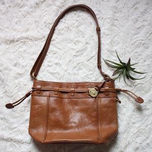 Brahmin Leather Shoulder Bag Brown Drawstring